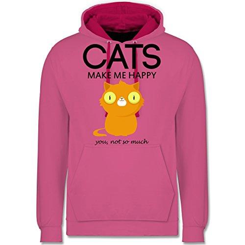 Katzen - Cats make me happy - you not so much - Kontrast Hoodie Rosa/Fuchsia