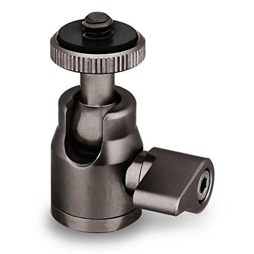 ohCome Mini trépied tête de brique Corps pivotant en alliage d'aluminium à 360 degrés avec vis à 1/4 po pouces Base de fil pour caméscope à caméra DSLR, peut être utilisé avec monopied d'Amazon, trépied -Noir Titane