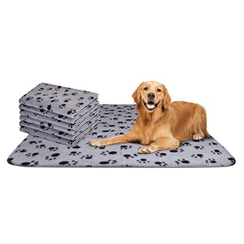 Nobleza - 6 x Hundedecke Weiche Fleecedecke Waschbare Deck für Haustier Hunde Katzen Welpen Weiche Warme Matte, Grau, 75 * 75 cm
