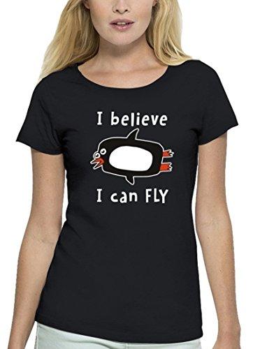 Lustiges Premium Damen T-Shirt aus Bio Baumwolle I Believe I Can Fly Premium Motiv Stanley Stella Black