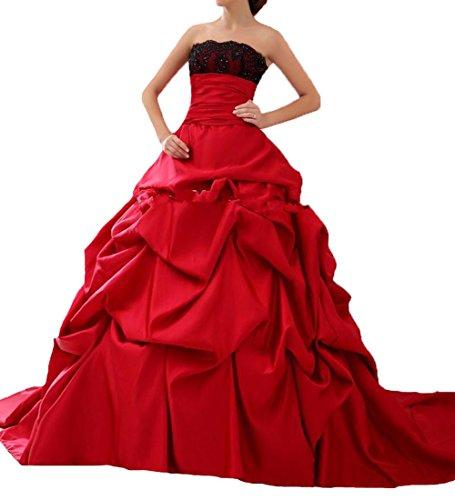 O.D.W Gotisch Lange Frauen Formales Brautkleider Vintage Hochzeitskleider(Schwarz+Rot 1, 46)