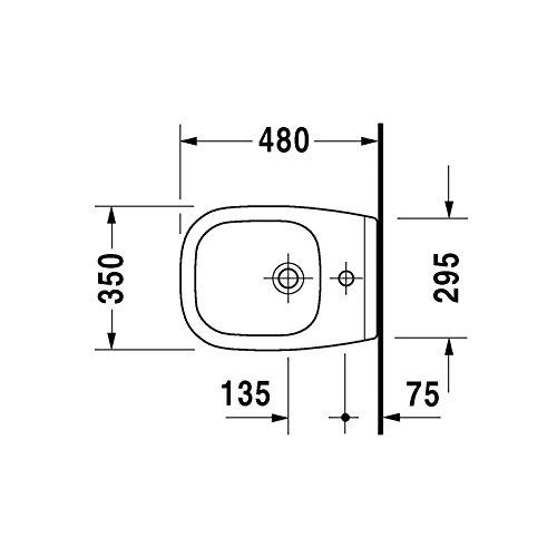 Set Hänge Bidet Compact D weiß mit Überlauf Duravit