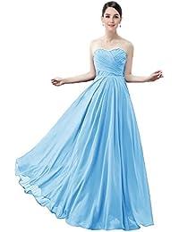 LuckyShe Damen Elegant Chiffon Lang Brautjungfernkleider Trägerlos Maxi  Kleider ec20337d91