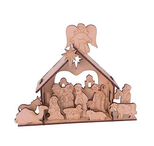 htskrippenset aus Holz - Zwölf Tage Weihnachten Kinder DIY Krippengeschenk - klein, handgefertigte Dekoration für Ihren Kaminsims. ()