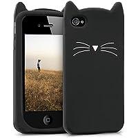 kwmobile Funda para Apple iPhone 4 / 4S - Case para móvil en TPU silicona - Cover trasero Diseño gato en negro blanco