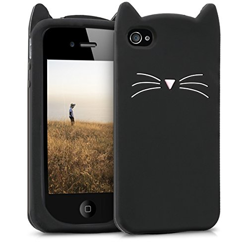 Kwmobile Coque en TPU pour Apple iPhone 4/4S Motif Chat Noir/Blanc