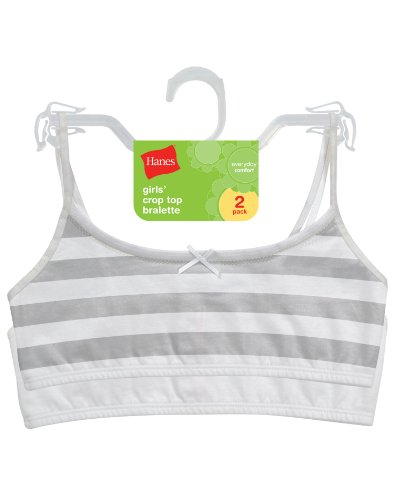 Hanes Mädchen Nahtloser BH Gr. S, White/Soft Heather Grey Stripe