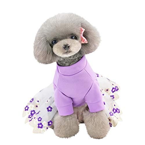 DOGZI Pet Cat Tutu Rock Kleid Hund Kleidung, Haustier Hund Katze Bottoming Flower Print Kleid Kleidung atmungsaktiv Stickerei Kleid Flower Jersey Kleid