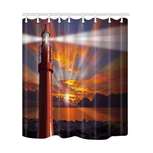 AdaCrazy Marine Navigation Leuchtturm Burning Cloud Hintergrund Dusche Vorhang 3D-Druck Wasserdicht beschichtetes Bad aus Polyestergewebe mit 12 Haken 71 Zoll (Lange Dusche Vorhang Liner)