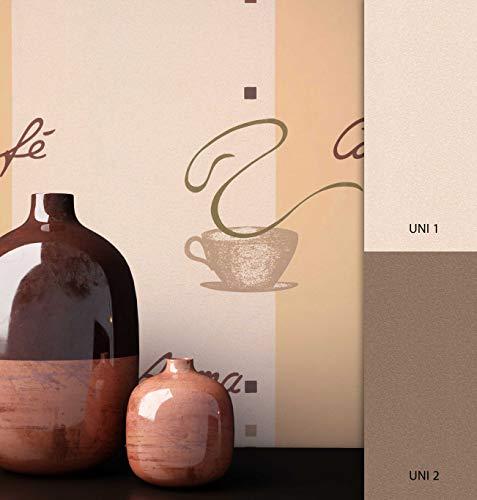 NEWROOM Tapete Beige Bohnen Schirft Vliestapete Vlies moderne Design Optik Kaffee inkl. Tapezier Ratgeber
