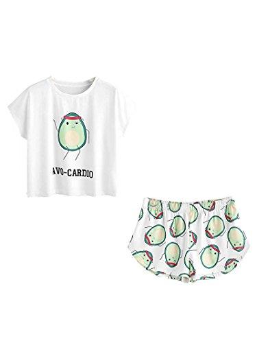 DIDK Damen Übergroß Pyjama Set mit Avocadomuster und Kordelzug ,Muster 2 - M