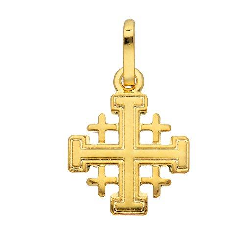 Gold Kreuz Anhänger Jerusalem 14 k 585 Gelbgold