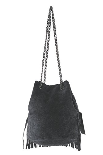 BORDERLINE - 100% Made in Italy - Borsa Secchiello in Camoscio - VIRGINIA Nero