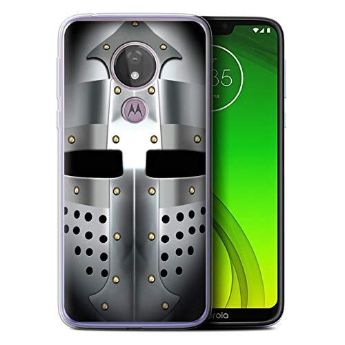 eSwish Gel TPU Hülle/Case für Motorola Moto G7 Power/Beckenhaube Helm Muster/Ritter Rüstung Kollektion