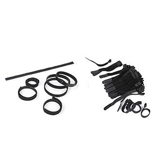 D DOLITY 130 Stk. / Set Schwarz Kabel Klettband Kabelklett Kabelbinder Klettbinder Klettverschluss Nylonbänder Klettverschlüsse in zwei Größen