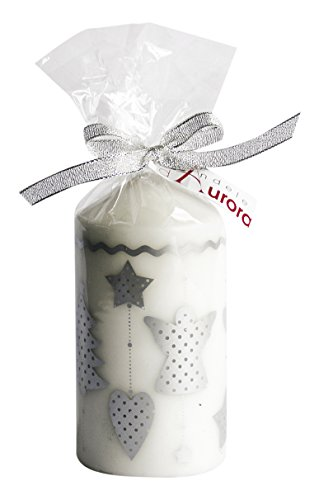 Vela de Aurora Selene cero con ornamentos Navidad, cera, plata, 6.8x 6.8x...