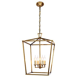 Pendant Lantern Light 4-Light Metal Cage Industrial Chandelier, Vintage Ceiling Lighting Fixture for Farmhouse Kitchen Island Foyer Hall Dining Room, Brushed Nickel (Color : Gold)