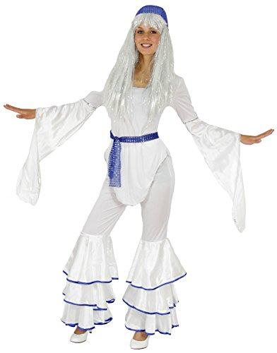 (Foxxeo 40070 | 70er Jahre Disco Kostüm für Damen Karneval Fasching Motto Party weiß Gr. S - XXL, Größe:XL)