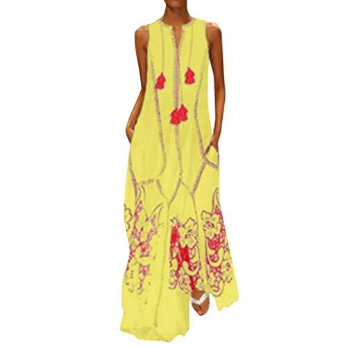 iYmitz Damen Vintage Maxikleid Daily Casual ärmellose Gestreifte Schmetterling Gedruckt Sommerkleid(X7-Gelb,EU-46/CN-5XL)