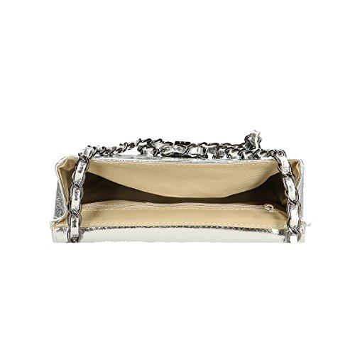 Chicca Borse Borsa a tracolla in pelle 20x13x8 100% Genuine Leather Argento