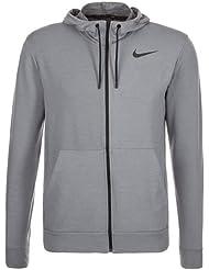 Nike Dri-Fit Training Fleece FZ HDY Sudadera, Hombre, Gris/Negro (