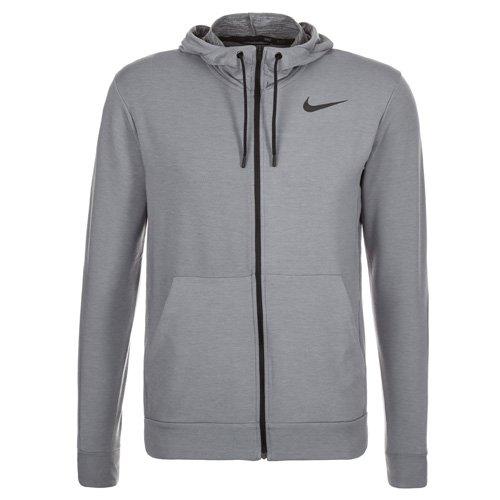 Nike Herren Hoody Dri-Fit Training Fleece, Cool Grey/Black, M, 742210-065 (Rayon Kordelzug)