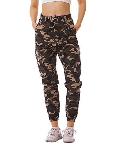 NEWISTAR Camouflage Hosen Damen Relaxed-Fit Seiten Taschen Fitnesshose Sweathose Hip Hop Trainingshose -