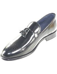 Scarpe Mocassino Uomo Nero Moda Classico Vero Cuoio Eleganti Cerimonia  Eventi Casual Campanelle e monogramma in c73a12a8d3a