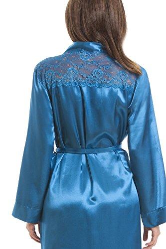 Robe de chambre de luxe en satin - dentelle - sarcelle Bleu