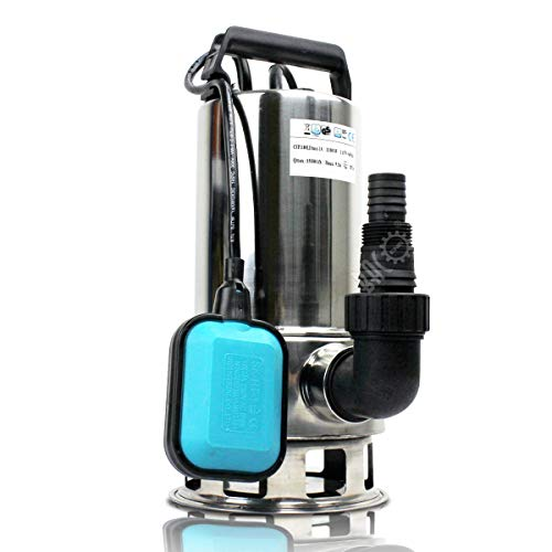 BACOENG - Bomba de aguas residuales y claras (acero inoxidable, con interruptor de flotador, 1100 W, 15000 L/h)
