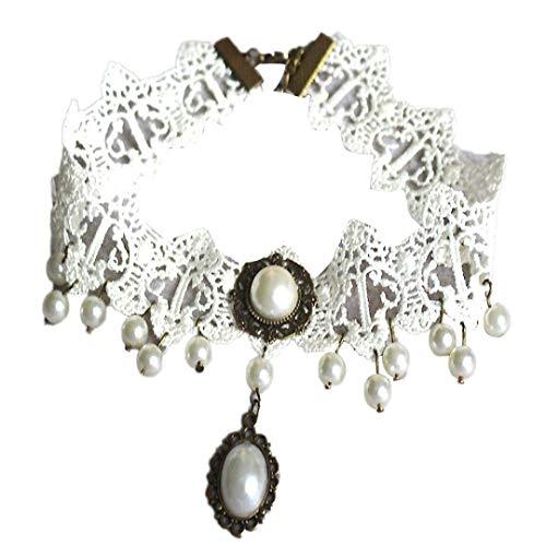 TINGSU Fashion Girl Handgefertigte Gothic Retro Perle Vintage Spitze Halsband Choker Halskette