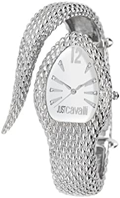Just Cavalli R7253153645 - Reloj analógico de cuarzo para mujer con correa de acero inoxidable, color plateado