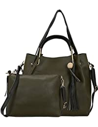 Bagclan Classy Design Dark Green PU Material Tote Bag With Sling Bag For Women