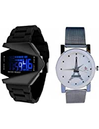 Freny Exim White Effiltower In Dial With Metal Chain Strap With Unique Shape Dial With Digital Display Fancy Wathces...
