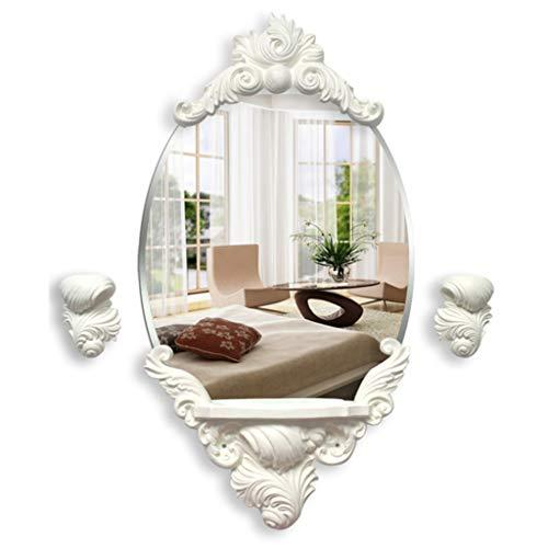 ZXCV Moderne einzigartige Spiegel-dekorative Harz-Eitelkeits-Wohnzimmer-Wand Hängendes dekoratives kreatives ovales Silber mit Regal, Kerzenhalter -