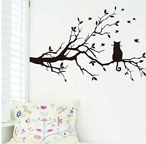 WACYDSD Wandtattoo Kratzbaum Zweige Und Vögel DIY Wandaufkleber Für Wohnzimmer Abnehmbare Vinyl Wandaufkleber Poster Wohnkultur Tapete 38X58 cm