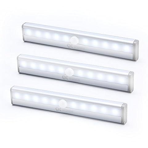 Proxelle LED Motion Sensor Light, IR Motion LED Night Light, LED Light Bar, Portable Cabinet Light, Sensor Wardrobe Light Stick-on Magnetic Strip, (10LED, 3