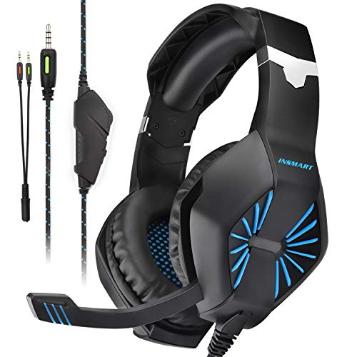 INSMART Gaming Headset für PS4, PC, Xbox One (S/X), Nintendo Switch, Laptop, Noise Cancelling Gaming Kopfhörer mit Mikrofon, Surround Sound System & Extra 3,5mm Y-Klinkenadapter - PC Headset