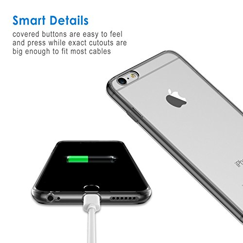 """JETech Apple iPhone 6 6S 4.7"""" Hülle Tasche Schutzhülle Case Cover Bumper und Anti-Scratch Löschen Back für iPhone 6s und iPhone 6 (Schwarz) Grau"""
