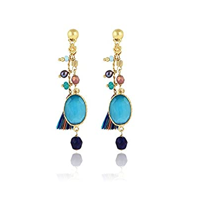 Gas Bijoux Women's 24ct Yellow Gold Plated Brass Oval Blue Quartz Multicolour Beads Serti Pondicherry Drop Earrings