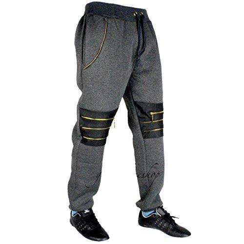 Il tempo è denaro G, con gamba larga Zip-Star in Pu, Pantaloni tuta da uomo Hip Hop, colore: grigio Grigio