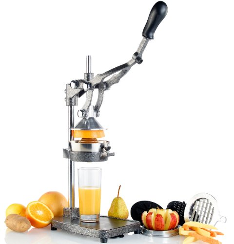Rosenstein & Söhne Pommesschneider Profi: Profi Gastro 3in1: Zitruspresse, Apfel-, Gemüse-, Pommes-Schneider, XL (Granatapfelpresse)