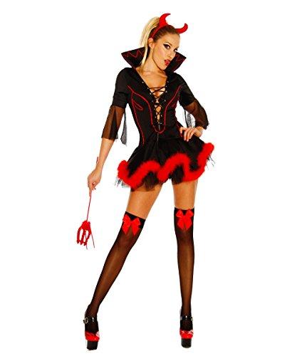 (Yourdesignerz Teufels-Kostüm Teufel Outfit Damen schwarz-rot S-M Verkleidung sexy Kleid, Haarreif mit Hörnern, Dreizack)