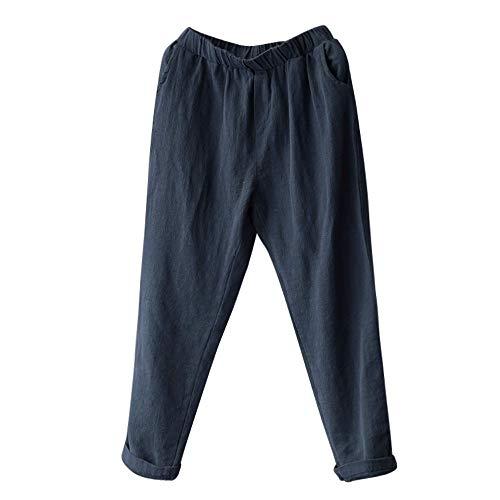 Damen Haremshose Oversize Plus Size Frauen Leinenhose Pluderhosen Baggy Lose Hosen Casual Lady URIBAKY (Plus Size Damen Kompression Hose)