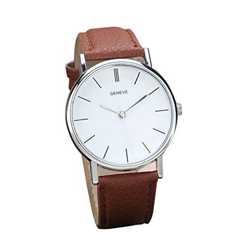 Reloj a Cuarzo analógico Reloj décontractée Reloj de Pulsera Reloj de Moda Vogue Relojes para Hombre Mujer Ultra Fino Reloj de cinturón muñecas Prendas delicadas Reloj Geneve (café) X 1