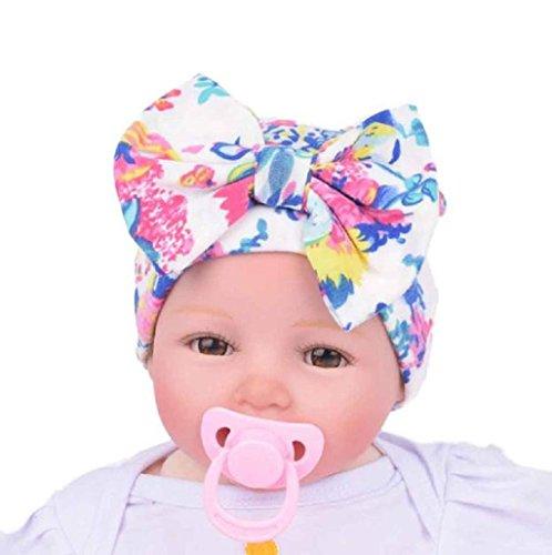 Sannysis Sombreros y gorras bebe niña, sombreros con arco nudo de flor (Blanco)
