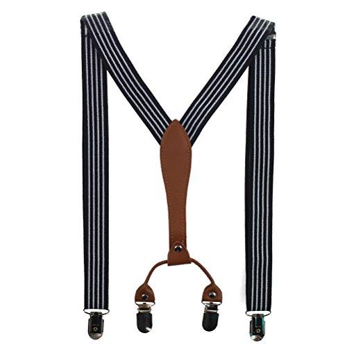 HABI mehrfarbig gestreift elastisch Hosenträger Y-Form Länge für Damen und Herren mit den starken Clips Playshoes in verschiedenen Designs (2)