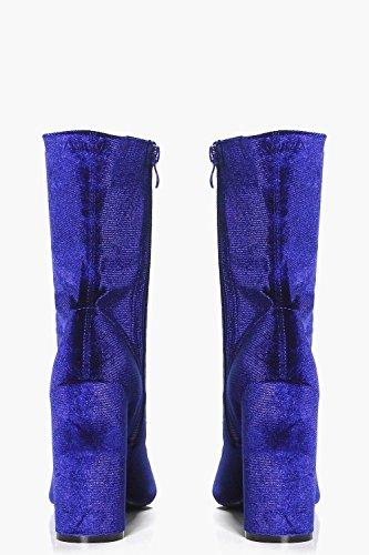 Blau Damen Mya Stiefeletten Mit Verlängertem Schaft In Samt-optik Und Zylinderförmigem Absatz Blau