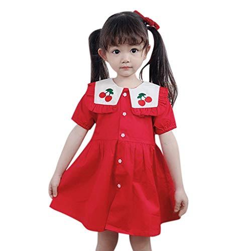 jgashf Baby Outfits Mädchen Prinzessin Kleider Tutu Kleinkind Kinder Kirsche Süß und lieblich Stickerei Revers Strickjacke Kleid A-Linien Kleid Sommer (Cherry Girl Kostüme)