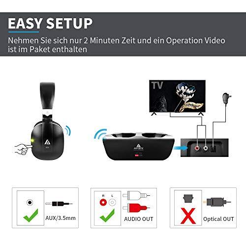 Artiste ADH300 Wireless TV Kopfhörer, 2.4GHz UHF/RF Over-Ear Digital Stereo Kopfhörer für TV, 100ft Distanz Sender Wiederaufladbare Ladestation - 3